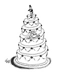 (Wedding-cake bridegroom waits impatiently for his bride who is driving up the cake to join him)