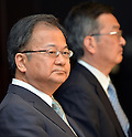 May 14, 2013, Tokyo, Japan - Takashi Okuda, left, outgoing president of Japan's Sharp Corp., and his successor Kozo Takahashi attend a news conference in Tokyo on Tuesday, May 14, 2013. Takahashi, currently an executive vice president, will become its president and CEO as of June 25 in a reshuffle to help restore profitability after reporting a record loss of $5.4 billion in the fiscal year that ended in March. (Photo by Natsuki Sakai/AFLO)