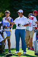 Hideki Matsuyama (JPN) looks over his tee shot on 6 during round 1 foursomes of the 2017 President's Cup, Liberty National Golf Club, Jersey City, New Jersey, USA. 9/28/2017.<br /> Picture: Golffile   Ken Murray<br /> ll photo usage must carry mandatory copyright credit (&copy; Golffile   Ken Murray)