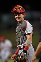 Chattanooga Lookouts catcher Tyler Stephenson (9) during a Southern League game against the Birmingham Barons on July 24, 2019 at Regions Field in Birmingham, Alabama.  Chattanooga defeated Birmingham 9-1.  (Mike Janes/Four Seam Images)