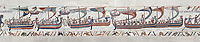 Bayeux Tapestry scene 38:  Duke Williams invasion fleet  ships cross the channel to England. BYX38