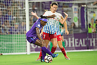 Orlando, FL - Saturday August 05, 2017: Jasmyne Spencer, Taylor Comeau during a regular season National Women's Soccer League (NWSL) match between the Orlando Pride and the Chicago Red Stars at Orlando City Stadium.