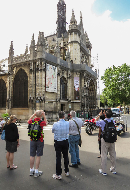 VMI Vincentian Heritage Tour: Members of the Vincentian Mission Institute cohort visit the Church of Saint-Laurent Thursday, June 23, 2016, as they toured Vincentian sites in Paris. The site is home to many artifacts highlighting the life of Saint Vincent de Paul. (DePaul University/Jamie Moncrief)
