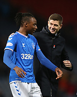 3rd November 2019; Hampden Park, Glasgow, Scotland; Scottish League Cup Football, Rangers versus Heart of Midlothian; Rangers Manager Steven Gerrard chats with Sheyi Ojo of Rangers after the match - Editorial Use