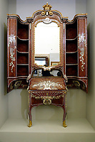 Wooden desk with nacre inlays, 1767-1768, by Pietro Biffetti, stolen after IIWorld War and found in America on 2018<br /> Rome May 3rd 2019. Quirinale Palace. Preview of the exhibition 'The art of rescuing art' , a collection of antique artworks, paintings, statues, jewelry and terracotta artefacts rescued from the command of Carabinieri for the protection of the cultural heritage in 50 years.  Many of these artworks were stolen on commission for private collections.<br /> Photo di Samantha Zucchi/Insidefoto