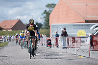 Bram Tankink (NED/team Lotto NL-Jumbo) leading the peloton over the cobbles.<br /> <br /> 102nd Kampioenschap van Vlaanderen 2017 (UCI 1.1)<br /> Koolskamp - Koolskamp (192km)