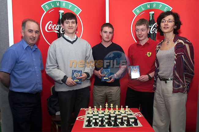 Frank Pentony, PRO Drogheda Chess Club, Anthony Reilly, Eoin Govers and Ambrose Corr, Drogheda Grammar School and Siobhan Woods, Drogheda Concectrates..Pic: Arthur Carron/Newsfile.SUPPLY PICS NO FEE REQUIRED