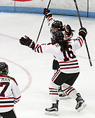 Halle Silva (NU - 5), Matti Hartman (NU - 16) - The Northeastern University Huskies defeated the Boston University Terriers 2-1 in their Hockey East semi-final on Saturday, March 4, 2017, at Walter Brown Arena in Boston, Massachusetts.