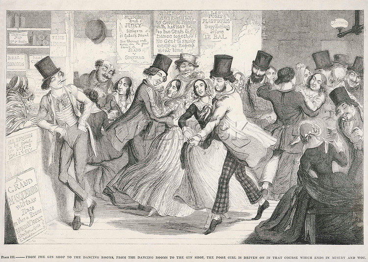 A popular dance hall in London's East End     Date: circa 1850     Source: George Cruikshank The drunkard's children plate 3