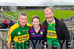 James Cox (Ballylongford) Aoife Dillon (Ballybunion) and Tom Dillon (Ballybunion) attending the Kerry v Cork Munster Final in Fitzgerald Stadium, Killarney on Saturday evening.