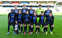20191022 – OOSTENDE , BELGIUM : Brugge's players with Senne Lammens (1) , Ignace Van Der Brempt (2) , Lars Dendoncker (4) , Maxim De Cuyper (5) , Wilkims Ochieng (7) , Mathias De Wolf (8) , Noah Aelterman (9) , Thibo Baeten (10) , Jarno Vervaque (12) , Thomas Van Den Keybus (15) and Xander Blomme pictured posing for the teampicture during a soccer game between Club Brugge KV and Paris Saint-Germain ( PSG )  on the third matchday of the UEFA Youth League – Champions League season 2019-2020 , thuesday  22 th October 2019 at the Versluys Arena in Oostende  , Belgium  .  PHOTO SPORTPIX.BE | DAVID CATRY