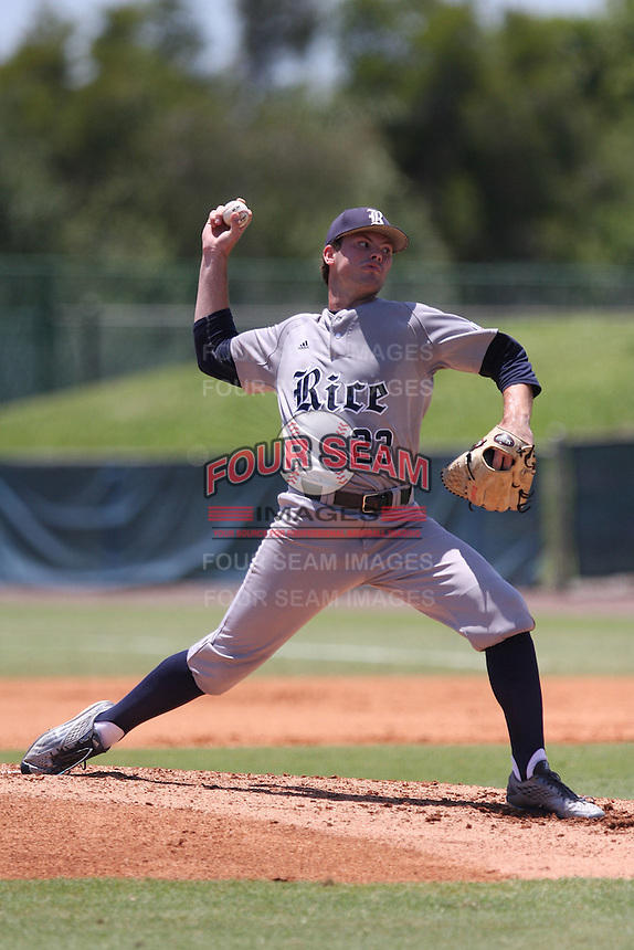 Starting pitcher Kevin McCanna (23) of the Rice University Owls in action against the Florida Atlantic Owls at FAU Baseball Stadium on May 9, 2015 in Boca Raton, Florida.  The Rice Owls defeated the FAU Owls 5-1.  (Stacy Jo Grant/Four Seam Images)