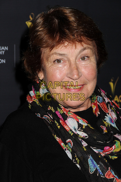 Helen Reddy.Australian Academy of Cinema and Television Arts 2nd Annual AACTA International Awards held at Soho House, West Hollywood, California, USA, 26th January 2013th..portrait headshot red black floral print scarf .CAP/ADM/BP.©Byron Purvis/AdMedia/Capital Pictures.