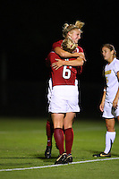 14 September 2007: Stanford Cardinal Morgan Redman (facing camera) and Alicia Jenkins (6) during Stanford's 3-2 win in the Stanford Invitational against the Missouri Tigers at Maloney Field in Stanford, CA.