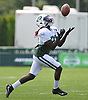 Lucky Whitehead #82 of the New York Jets works on punt returns during a day of training camp at the Atlantic Health Jets Training Center in Florham Park, NJ on Monday, Aug. 6, 2018.