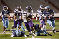 Arkansas Democrat-Gazette/MELISSA SUE GERRITS - 12/05/15 -  Fayetteville's Javonte Smith looks to the end zone while running the team's last touchdown, a 31 yard run in the 4th quarter during their game against Har-Ber in during the 7A Championship game December 5, 2015 at War Memorial Stadium in Little Rock.