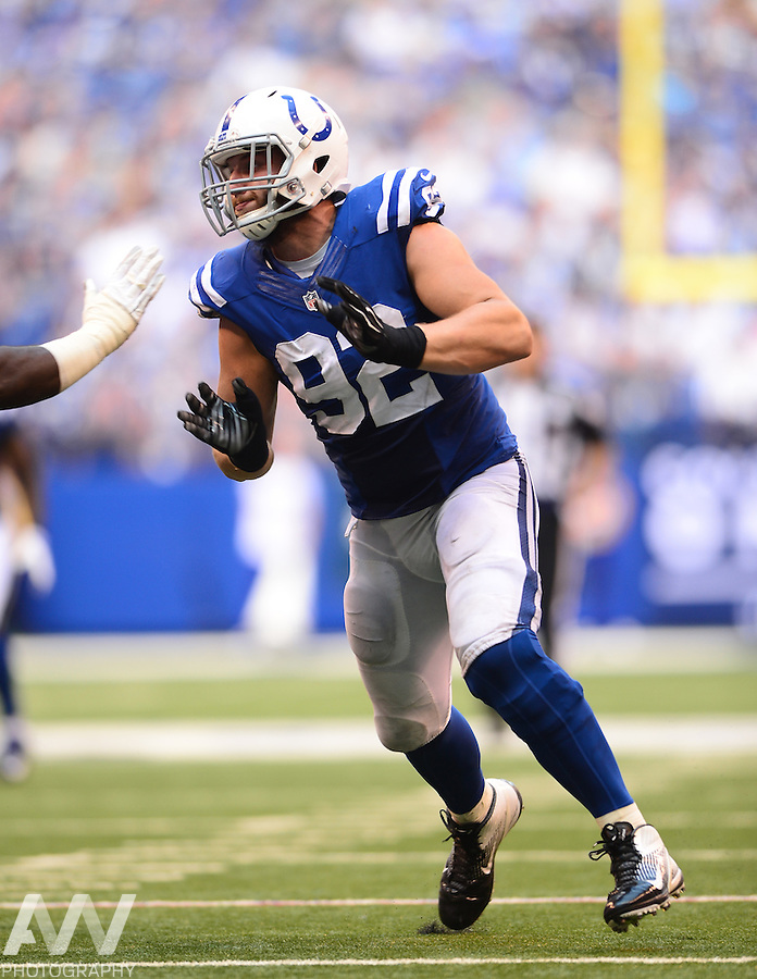 Sep 28, 2014; Indianapolis, IN, USA; Indianapolis Colts outside linebacker Bjoern Werner (92) against the Tennessee Titans at Lucas Oil Stadium. Mandatory Credit: Andrew Weber-USA TODAY Sports