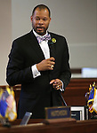 Nevada Sen. Aaron Ford, D-Las Vegas, speaks on the Senate floor at the Legislative Building in Carson City, Nev., on Tuesday, May 21, 2013. .Photo by Cathleen Allison