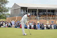 Sergio Garcia (ESP) sinks his birdie putt on 18 during Round 2 of the Valero Texas Open, AT&T Oaks Course, TPC San Antonio, San Antonio, Texas, USA. 4/20/2018.<br /> Picture: Golffile | Ken Murray<br /> <br /> <br /> All photo usage must carry mandatory copyright credit (© Golffile | Ken Murray)
