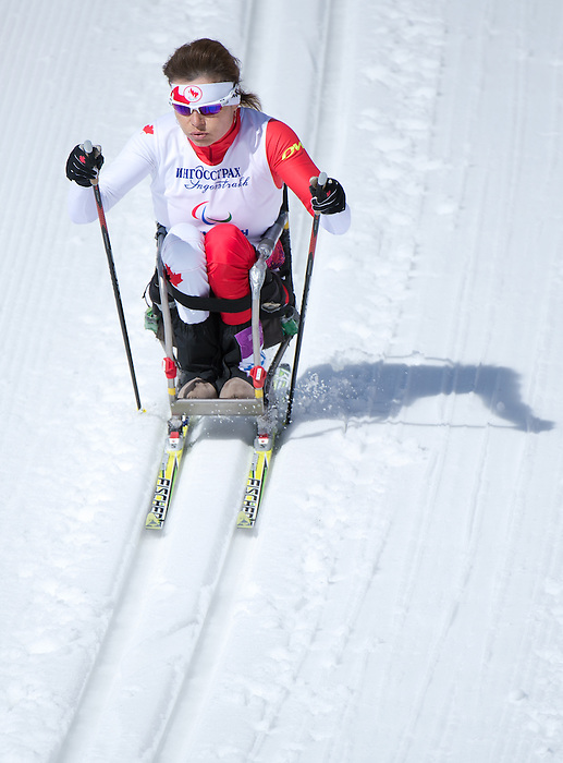 Sochi, RUSSIA - Mar 16 2014 - Colette Bourgonje competes in Cross Country Skiing Women's 5km Sitting at the 2014 Paralympic Winter Games in Sochi, Russia.  (Photo: Matthew Murnaghan/Canadian Paralympic Committee)