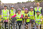 TECHNIQUES: Sneem children practising their cycling techniques at the Sneem Hotel l-r: Ex-pro cyclist, Louise Moriarty, Tom Sheehan, Saoirse Kavanagh, Rebecca Murphy, Catriona Murphy, Mary Teresa Burns, Timothy Murphy and cycling trainer, Louis Moriarty.