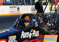 Jul. 25, 2014; Sonoma, CA, USA; NHRA top fuel driver Clay Millican during qualifying for the Sonoma Nationals at Sonoma Raceway. Mandatory Credit: Mark J. Rebilas-