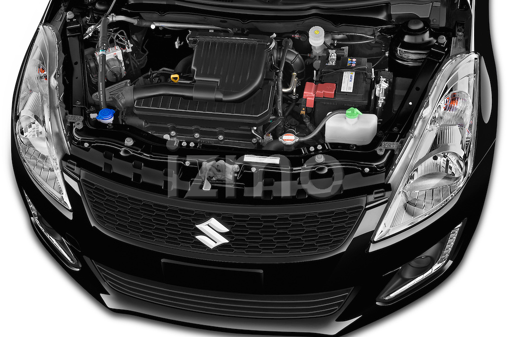 Car Stock 2013 Suzuki SWIFT Grand Luxe @ttraction 5 Door Hatchback 2WD Engine high angle detail view