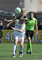 Leslie Osborne (back) battles for the ball against Liz Bogus (17). Los Angeles Sol defeated FC Gold Pride 2-0 at Buck Shaw Stadium in Santa Clara, California on May 24, 2009.