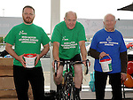 Ronnie McGovern, Larry McGrane and Tom McGovern collecting for Motor NeuroneDisease Association at the 24hr Cycle at Tesco Extra. Photo: Colin Bell/pressphotos.ie