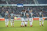 10.03.2018, HDI Arena, Hannover, GER, 1.FBL, Hannover 96 vs FC Augsburg<br /> <br /> im Bild<br /> Michael Gregoritsch (FC Augsburg #11) bejubelt seinen Treffer per Kopfball zum 0:1 mit Teamkollegen Ja-Cheol Koo (FC Augsburg #19), Jonathan Schmid (FC Augsburg #17), Marco Richter (FC Augsburg #23), Rani Khedira (FC Augsburg #08), Philipp Max (FC Augsburg #31), Teamjubel, <br /> <br /> Foto &copy; nordphoto / Ewert