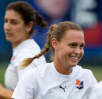 Sky Blue FC player / head coach Christie Rampone warms up with her team at the Maryland SoccerPlex in Boyds, Maryland.  The Washington Freedom defeated Sky Blue FC, 3-1, to secure a place in the playoffs.