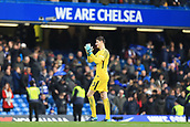 2nd December 2017, Stamford Bridge, London, England; EPL Premier League football, Chelsea versus Newcastle United; Thibaut Courtois of Chelsea applauds the fans