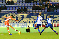 Blackpool's Kelvin Mellor hits a deflected shot prior to the first goal<br /> <br /> Photographer Richard Martin-Roberts/CameraSport<br /> <br /> The EFL Sky Bet League One - Wigan Athletic v Blackpool - Tuesday 13th February 2018 - DW Stadium - Wigan<br /> <br /> World Copyright &not;&copy; 2018 CameraSport. All rights reserved. 43 Linden Ave. Countesthorpe. Leicester. England. LE8 5PG - Tel: +44 (0) 116 277 4147 - admin@camerasport.com - www.camerasport.com