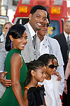 "Actress Jada Pinkett Smith, actress Willow Smith, actor Will Smith, actor Jaden Smith and Trey Smith (L-R) arrive to The World Premiere of Columbia Pictures' ""Hancock"" at the Grauman's Chinese Theatre on June 30, 2008 in Hollywood, California."