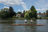 Maidenhead, United Kingdom.   &quot;Double&quot;,&quot;Thames Punting Club Regatta&quot;, Bray Reach.<br /> 12:45:05 Sunday  06/08/2017<br /> <br /> [Mandatory Credit. Peter SPURRIER Intersport Images}.<br /> <br /> LEICA Q (Typ 116) 28mm  f1.7   1/6400 /sec    100 ISO River Thames, .......... Summer, Sport, Sunny, Bright, Blue Skies, Skilful,