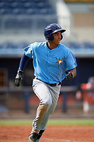 Tampa Bay Rays Kaleo Johnson (83) runs to first base during a Florida Instructional League game against the Baltimore Orioles on October 1, 2018 at the Charlotte Sports Park in Port Charlotte, Florida.  (Mike Janes/Four Seam Images)