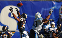 Sept. 17, 2006; San Diego, CA, USA; San Diego Chargers linebacker (57) Matt Wilhelm breaks up a pass intended for Tennessee Titans tight end (80) Bo Scaife at Qualcomm Stadium in San Diego, CA. Mandatory Credit: Mark J. Rebilas