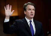 Judge Brett Kavanaugh is sworn in to testify before the Senate Judiciary Committee on Capitol Hill in Washington, Thursday, Sept. 27, 2018. (AP Photo/Andrew Harnik, Pool)