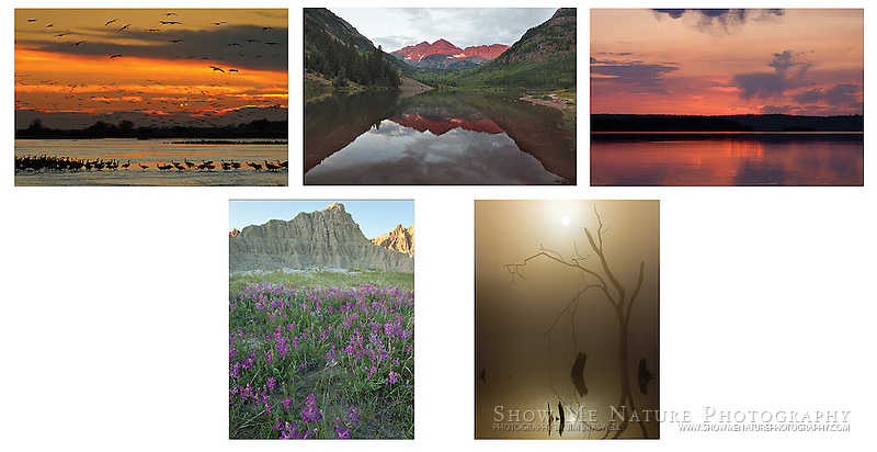 "Boxed set of 10 Landscapes note cards (folded, blank inside), 2 of each of the pictured images, and 10 blank, white envelopes. To purchase, click on image until a ""Buy Prints"" button appears above the image."