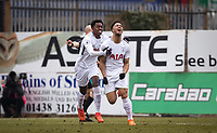 Edmond-Paris Maghoma of Spurs U19 celebrates with goalscorer Keanan Bennetts of Spurs U19 during the UEFA Youth League round of 16 match between Tottenham Hotspur U19 and Monaco at Lamex Stadium, Stevenage, England on 21 February 2018. Photo by Andy Rowland.