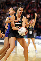 07.08.2010 Silver Ferns Daneka Wipiiti and Samoa's Monique Vaai in action during the Silver Ferns v Samoa netball test match played at Te Rauparaha Arena in Porirua  Wellington. Mandatory Photo Credit ©Michael Bradley.