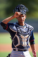 Cleveland Indians Miguel Jerez (2) during an Instructional League game against the Los Angeles Dodgers on October 10, 2016 at the Camelback Ranch Complex in Glendale, Arizona.  (Mike Janes/Four Seam Images)