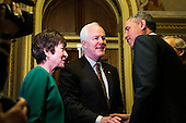 United States President Barack Obama is greeted by U.S. Senators Susan Collins (Republican of Maine)and John Cornyn (Republican of Texas) as he arrives at the U.S. Capitol to meet with Senate Republicans, on Capitol Hill in Washington, Thursday, March 14, 2013. Later in the day, President Obama will also meet with the House Democratic Caucus. .Credit: Drew Angerer / Pool via CNP