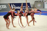 September 22, 2007; Patras, Greece;   Rhythmic group from USA balances during hoops + clubs routine at 2007 World Championships Patras.   Photo by Tom Theobald.