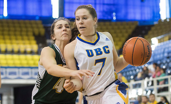 VANCOUVER,BC:FEBRUARY 17, 2017 -- UBC Thunderbirds University of Northern BC Timberwolves during U Sports Canada West women's basketball playoff action at UBC in Vancouver, BC, February, 17, 2017. (Rich Lam/UBC Athletics Photo) <br /> <br /> ***MANDATORY CREDIT***