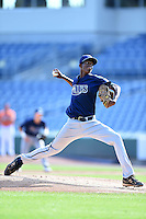 Triston McKenzie (14) of Royal Palm Beach High School in Loxahatchee, Florida playing for the Tampa Bay Rays scout team during the East Coast Pro Showcase on August 2, 2014 at NBT Bank Stadium in Syracuse, New York.  (Mike Janes/Four Seam Images)