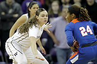 SEATTLE, WA - DECEMBER 18: Washington's #1 Hannah Johnson sets up on defense against Savannah State.  Washington won 87-36 over Savannah State at Alaska Airlines Arena in Seattle, WA.
