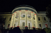 The South Portico of the White House is adorned for the holidays in this view from the driveway after United States President Barack Obama and the First Family attended the National Christmas Tree Lighting on the Ellipse in Washington, DC on Thursday, December 1, 2016.<br /> Credit: Ron Sachs / Pool via CNP
