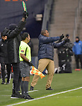 Francisco Perlo, coach of Independiente, motions to his team before a substitution. Sporting KC hosted Club Atletico Independiente in a CONCACAF Champions League quarterfinal game at Children's Mercy Park on March 14, 2019.