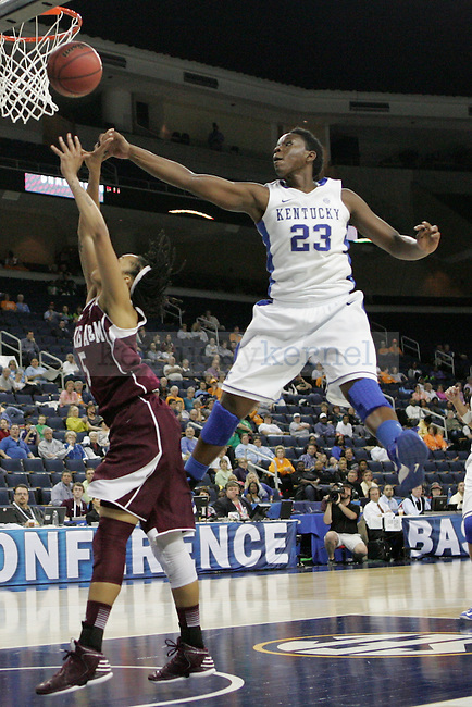 UK forward Samarie Walker attempts to defend a shot during the second half of the University of Kentucky women's basketball game vs. Texas A&M University during the SEC Tournament Championship Game at The Arena at Gwinnett Center in Duluth, Ga. on Sunday, March 10, 2013. Texas A&M won 75-67. Photo by Genevieve Adams | Staff
